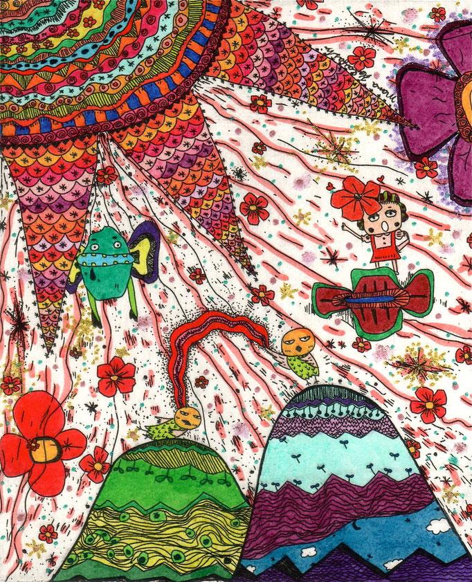 「山から山へ虹」 サイズ12×10cm 銅版画・手彩色/紙