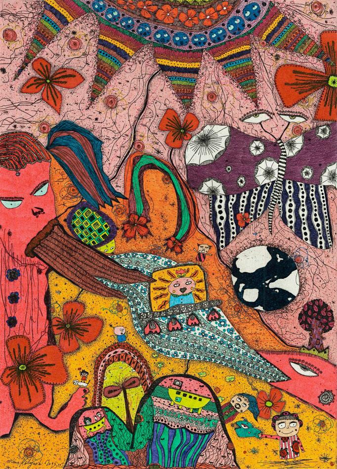 「太陽とピエ子Ⅱ」 サイズ29.7×21.5cm 銅版画・手彩色/紙