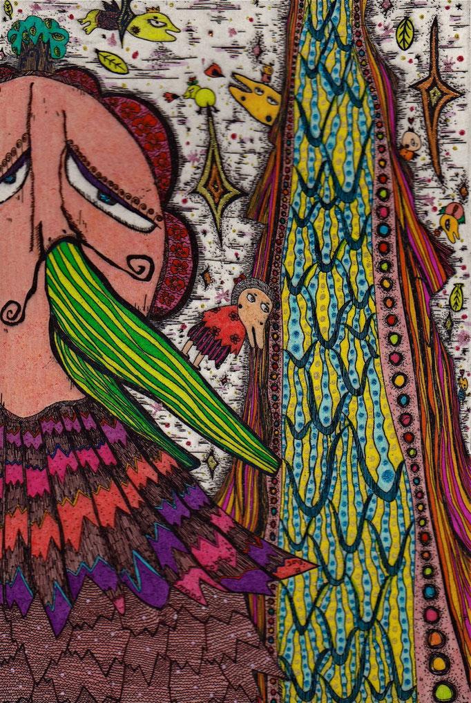 「ピエールと滝Ⅱ」 サイズ18×12cm 銅版画・手彩色/紙