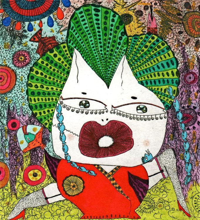 「魚界の女雛」 サイズ10×9cm 銅版画・手彩色/紙