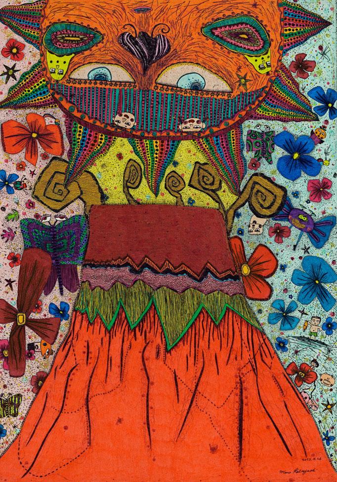 「富士山の周りに幸あり」 サイズ36×26cm 銅版画・手彩色/紙