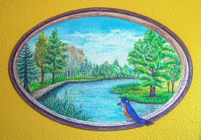 """Fresque murale - Décor, Au bord de l""""eau (80 x 60 cm ) - Copyright Pascale Richert"""
