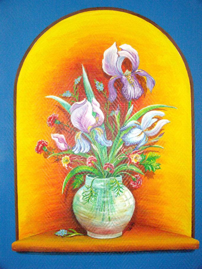 Fresque murale - Décor trompe-l'oeil,vase avec iris (60 x 80 cm ) - Copyright Pascale Richert