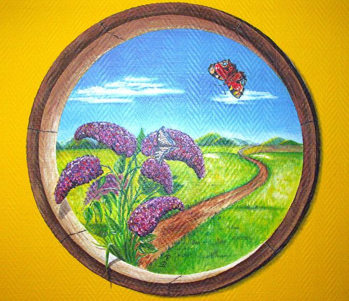 Fresque murale - Décor, Arbre à papillons (diam.60 cm ) - Copyright Pascale Richert