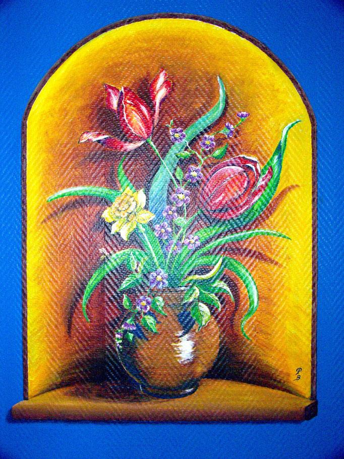 Fresque murale - Décor, trompe-l'oeil, vase avec tulipes (60 x 80 cm ) - Copyright Pascale Richert