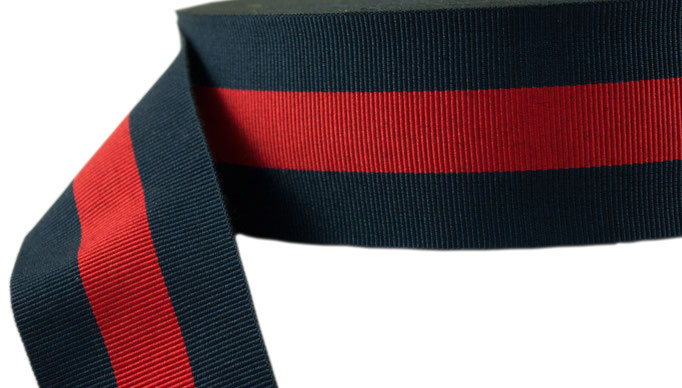 striped ribbon no. 13, blue-red-blue, width 12, while stocks last