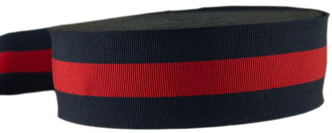 Streifenband no. 13, blau-rot-blau gestreift, 12er Breite. So lange der Vorrat reicht
