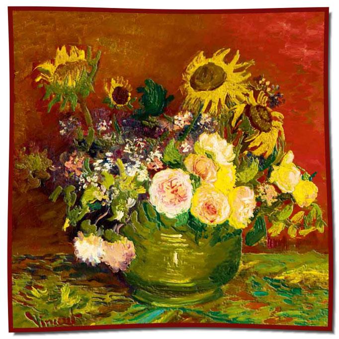 Artikel Nr. 1064 Rosen und Sonnenblumen - Van Gogh (100 x 100 cm)