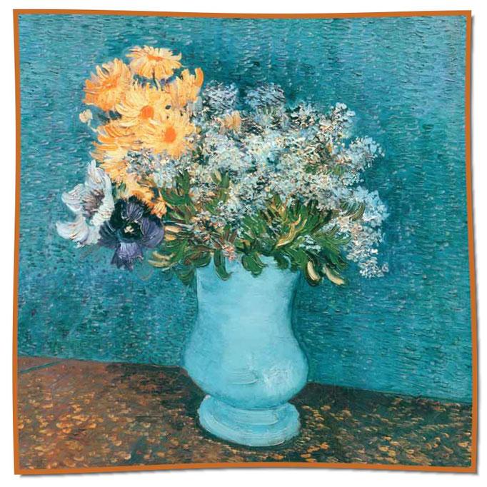 Artikel Nr. 1065 Blaue Vase/Blumen - Van Gogh (100 x 100 cm)