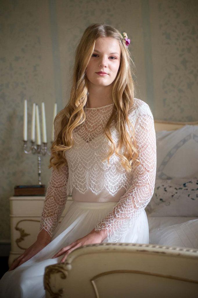"""Spitzentop """"Lena"""" mit Tüllrock """"Nami"""" - romantisches zweiteiliges Brautkleid im Boho Look"""