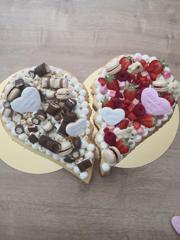 Heart Cake moitié fruits rouges / moitié kinder