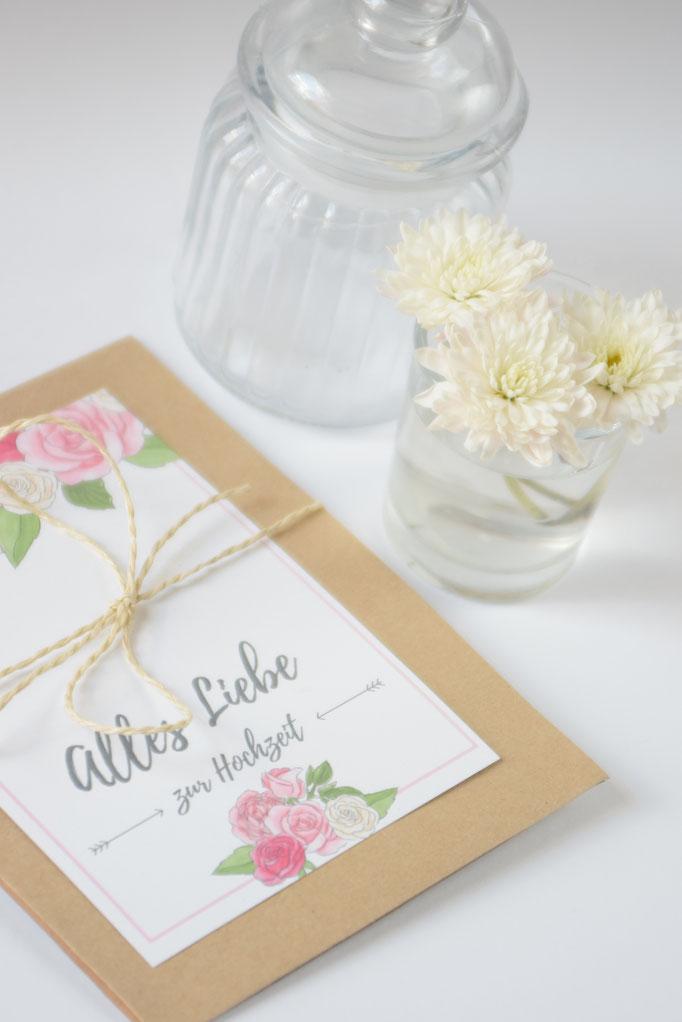 Eine Anleitung für Hochzeitsgrußkarte zum Basteln. Ein tolles Hochzeits-DIY.