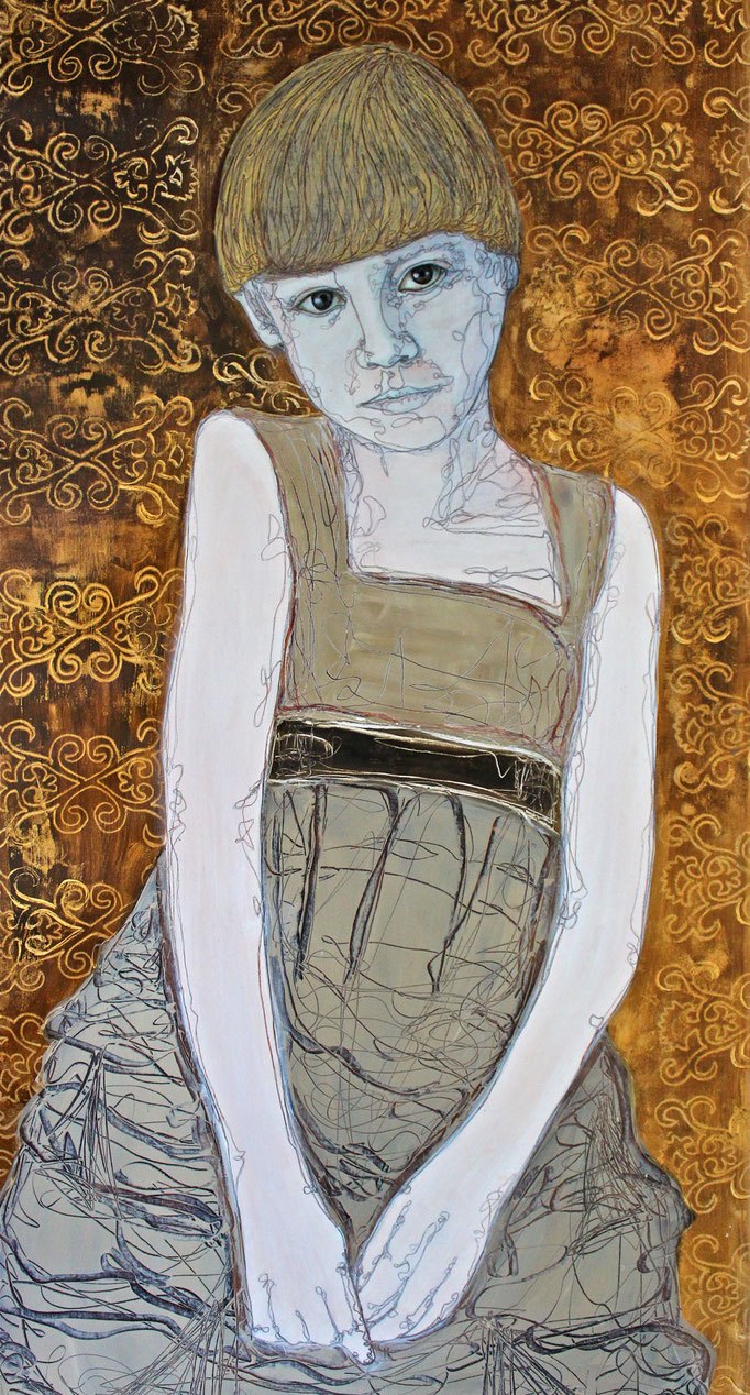 Child Bride III / Oil on Paper 40 x 110 Cm  2015 Private Collection
