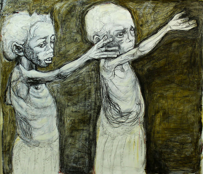 Supplication / Oil on Paper 100 x 100 Cm  2013
