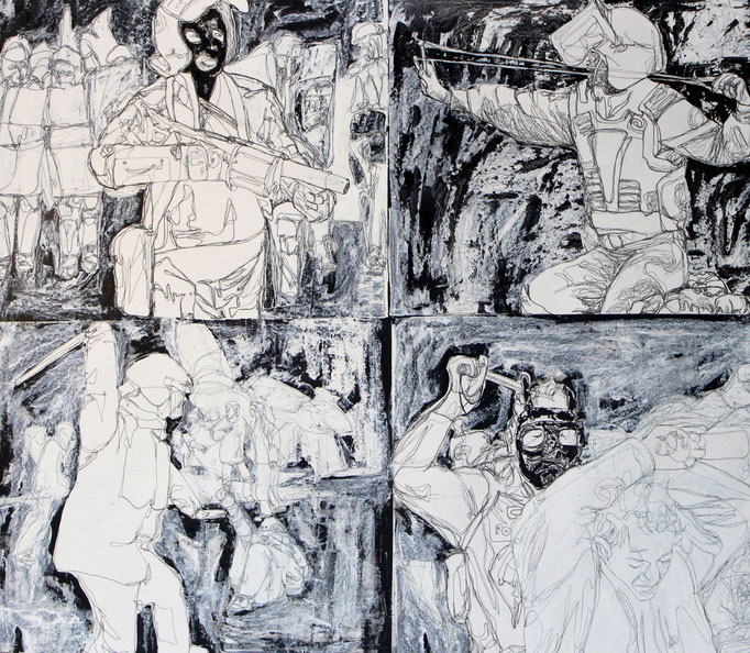 Attack  / Oil on Paper 160 x 200 Cm  2013