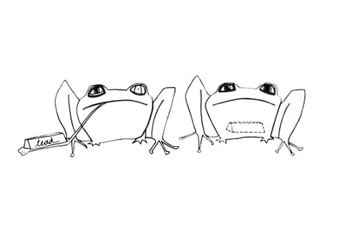 Frogs, drawing on paper, 2003
