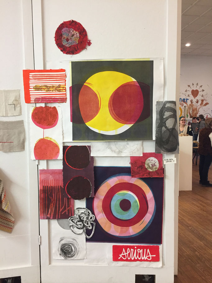 Install view of recent monotypes - Focus, Tension, Attraction