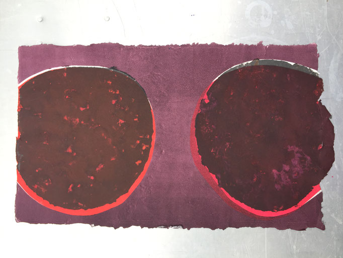 Handmade paper with integral pulp stencils and monotype print