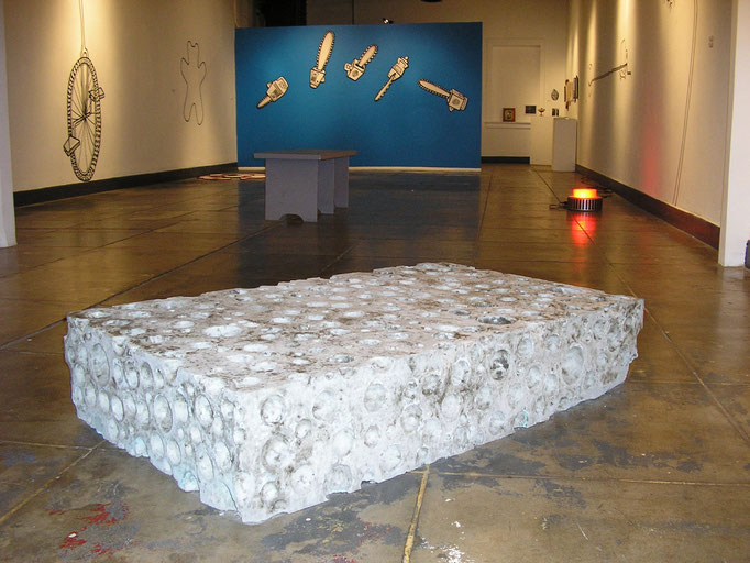 """Concrete sponge, 800lbs, approx. 2' x 4' x 12"""", various drawings on wood and walls, Panic Button, 2005"""