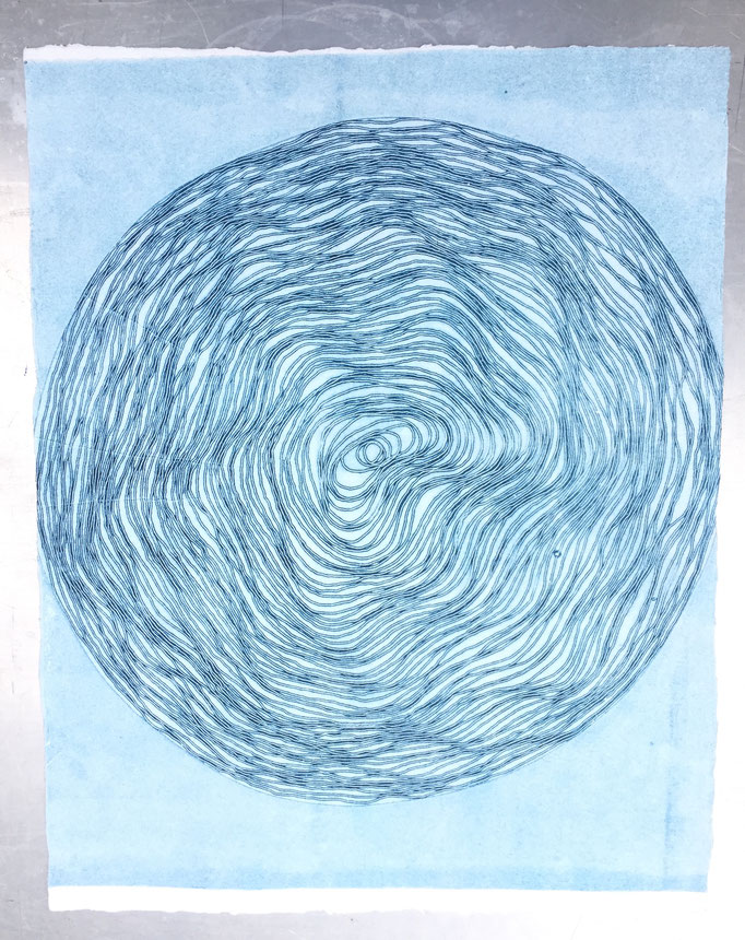 """30"""" string spiral laid on inked plate - monotype"""