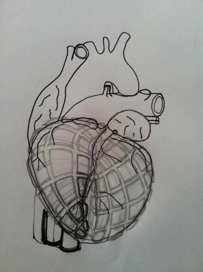 Heart Grenade, drawing, 2014