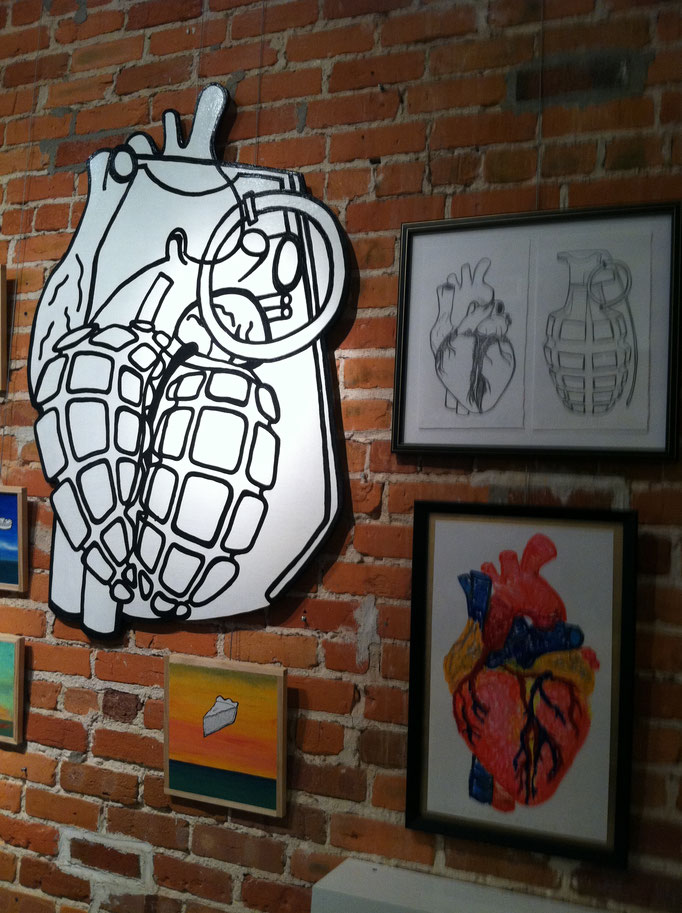 Love is a Battlefield/Heart Grenade - study sketches and drawing on wood, 2014