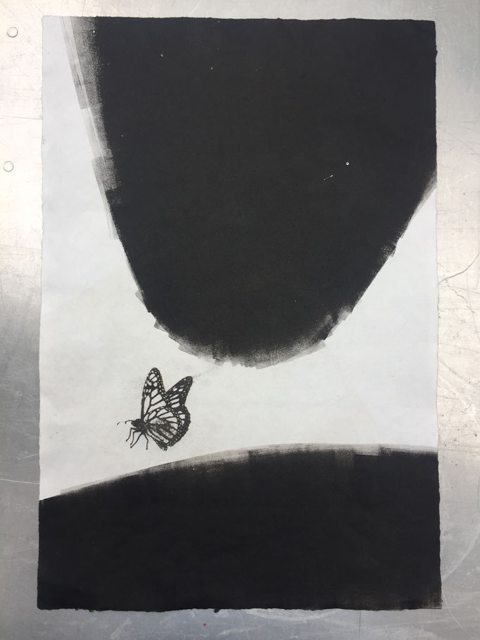 Monotype and gum transfer on handmade paper