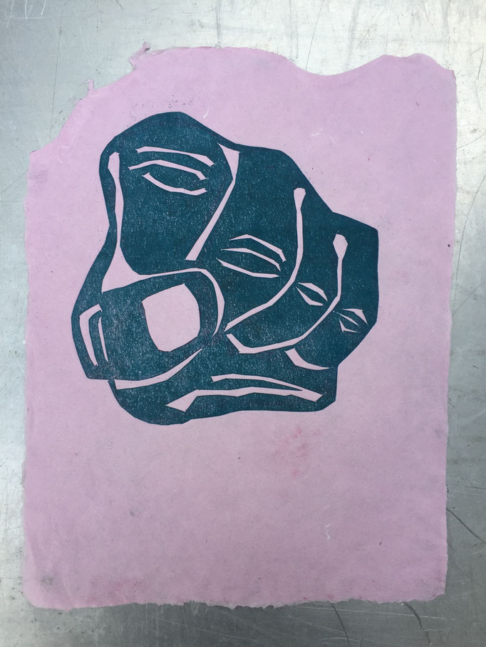 Monotype on handmade paper, Lead with Love
