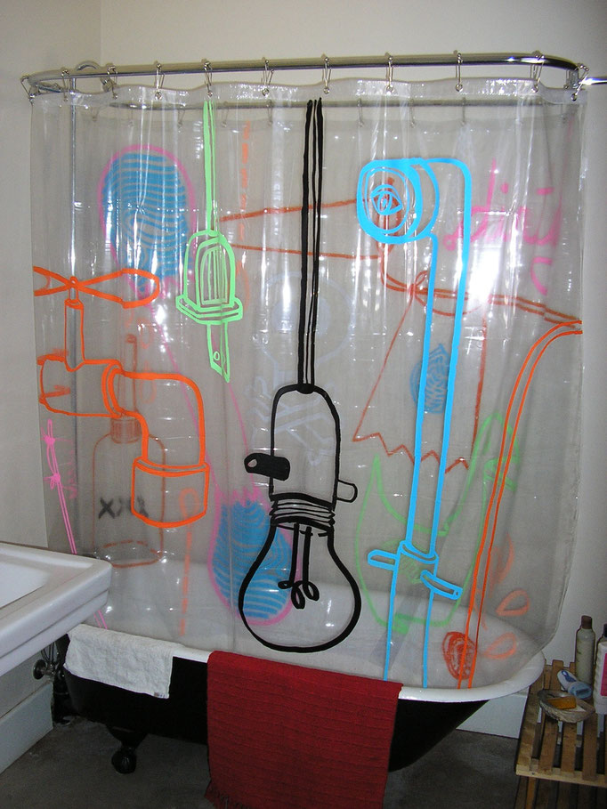 Shower Curtains, drawing on plastic