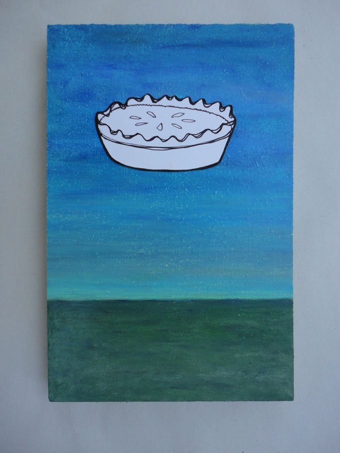 Pie in the Sky series, oil pastel and drawing on wood, 2013