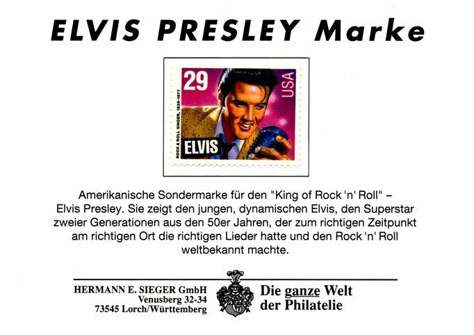 USA-Elvis-Sondermarke aus dem Jahre 1993, präsentiert von der Hermann E.Sieger GmbH - Schenkung M.-L. Matla