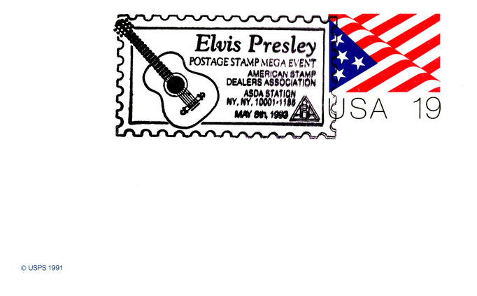 "American Stamp Dealers Association-Postkarte ""Elvis Presley Postage Stamp Mega Event, May 8th, 1993"" - Schenkung M.-L. Matla"