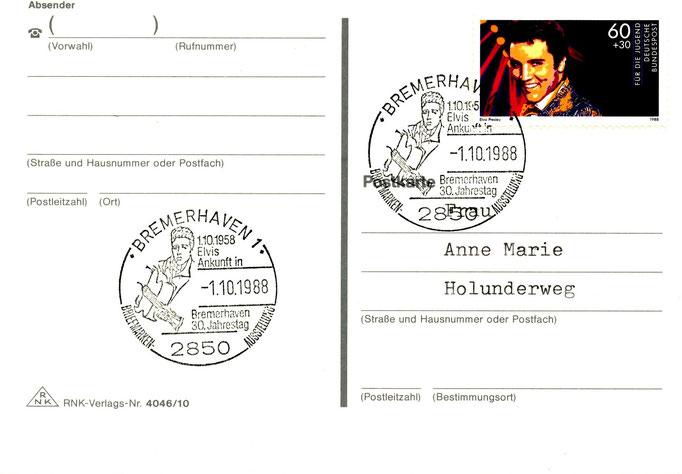 Gedenkkarte anlässlich des 30. Jahrestages von Elvis Ankunft in Bremerhaven am 01.10.1956, gestempelt am 01.10.1988 - Schenkung M.-L. Matla