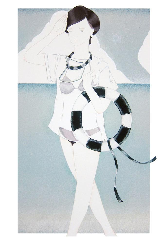海と女  510×300(mm) 2015. acrylic on panel