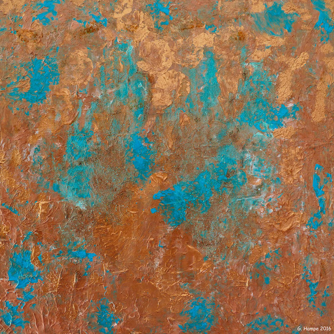 Copper and turquoise 40x40cm Alu-Dibond