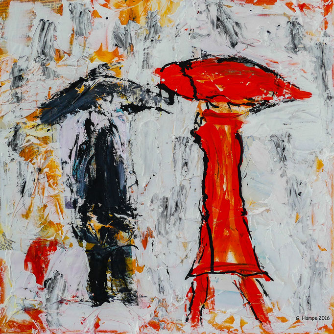 The black and the red person 40x40x4 cm Leinwand