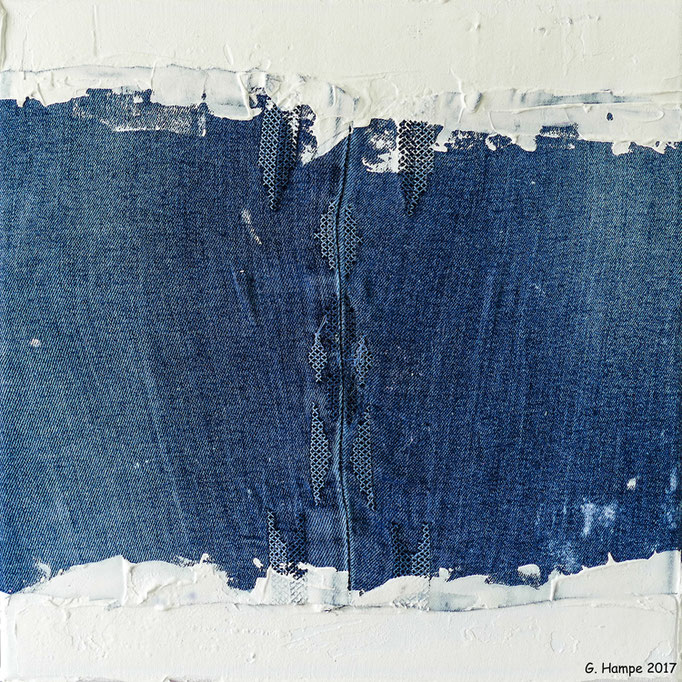 Part of a blue jeans 30x30x4 cm Leinwand