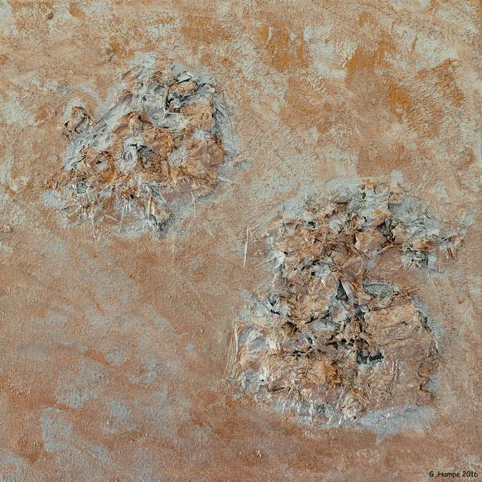 The copper hydrangea 40x40x4cm canvas