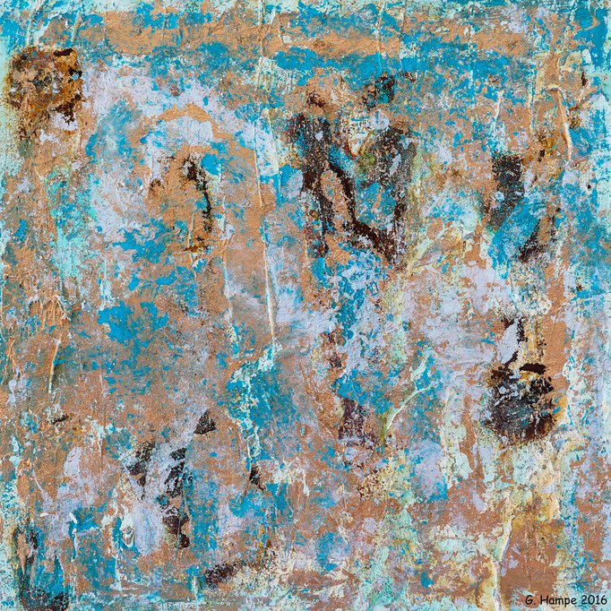 Mixed of copper and turquoise 30x30 Alu-Dibond