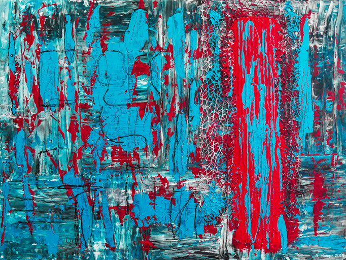 Abstract art in turquoise in red 80x60 cm canvas