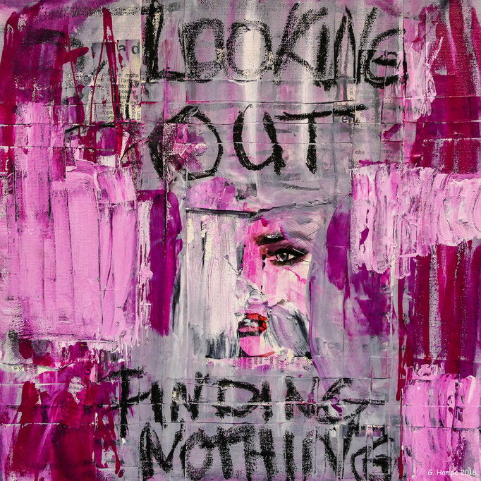 Looking out finding nothing 30x30x4 cm canvas