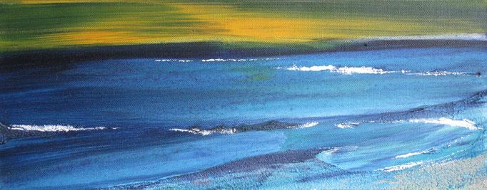 Frank Koschnick: Abend am Meer | Acryl auf Leinwand 50 x 20 cm
