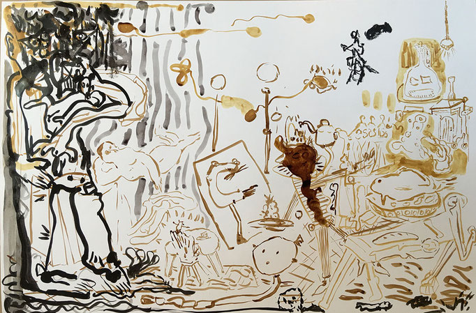 """Soirée"", 100x120cm, ink on paper"