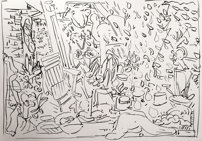 """Rainy day in the garden"", ca. 50x70cm, ink on paper"