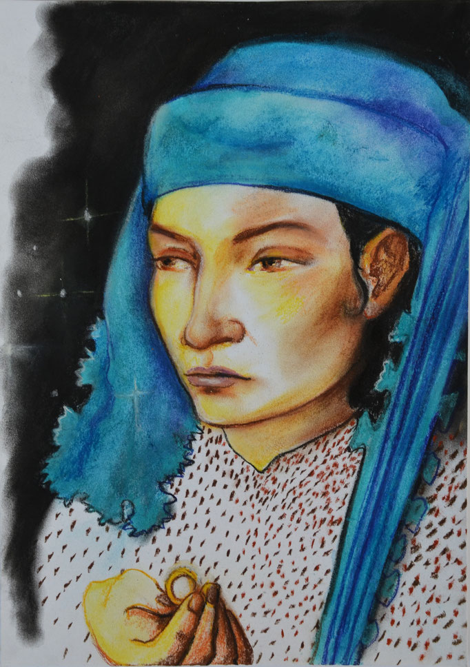 Untitled, Pastel chalk on paper, DIN A3, 2019
