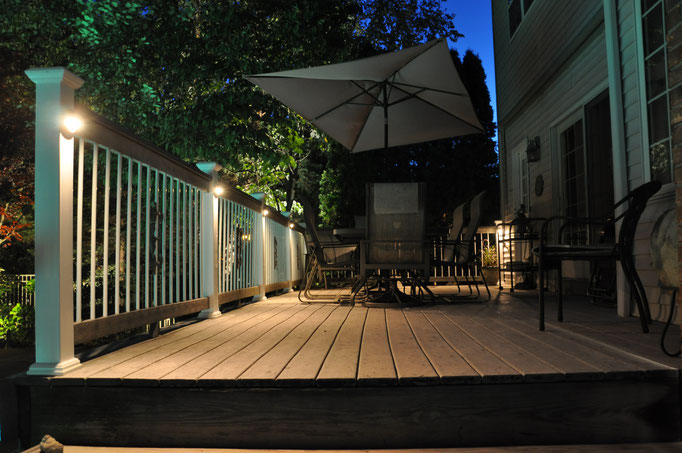 "Soft low voltage ""down lighting"" from the deck lights create the perfect ambiance to enjoy your deck with harsh floodlights. - Northern NJ"