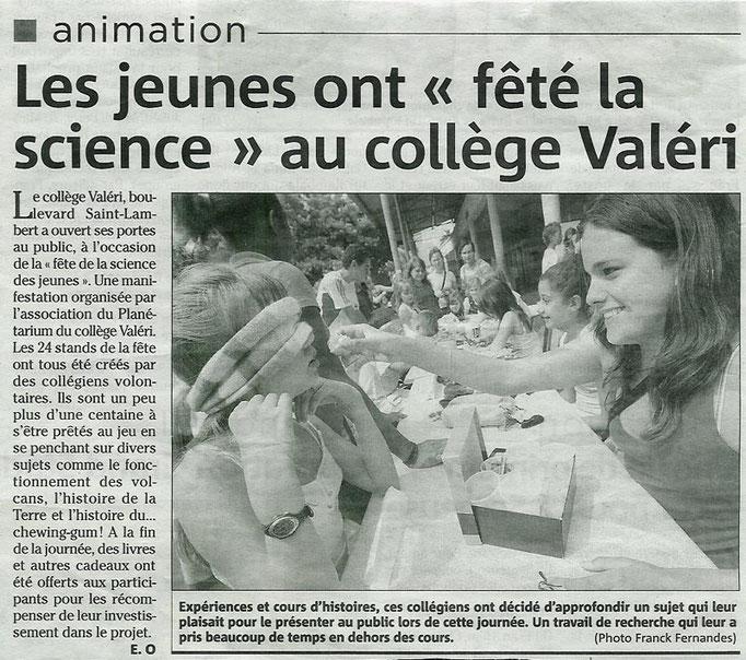 2007-06 NICE-MATIN (la fête de la science des jeunes organisée par l'association du Planétarium)