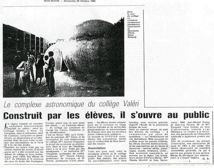 1985-10-20 NICE-MATIN OUVERTURE DES BULLES