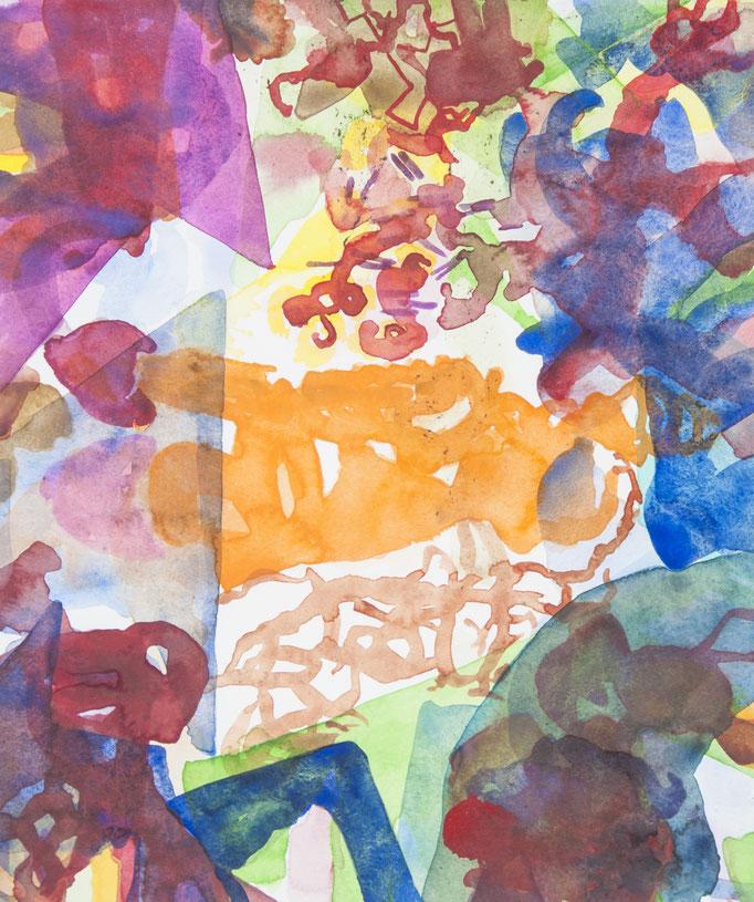 crash in versuchsreihe 9, 2018, 27 x 32cm, aquarellfarbe/papier