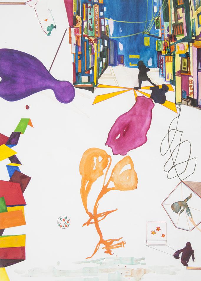 edo, 2017, 69 x 49,5cm, aquarellfarbe, farbstifte/papier